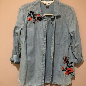 Floral Chambray Top